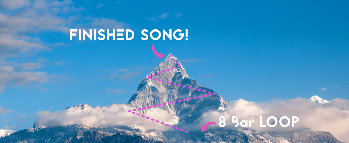 Stuck in the 8-bar loop? How to finish songs faster. Misty mountain road to finish the track.