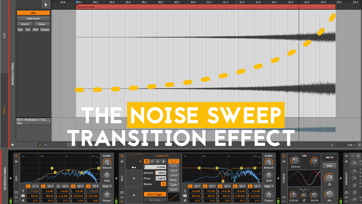 Transition Techniques in music production - Noise sweep transition effect
