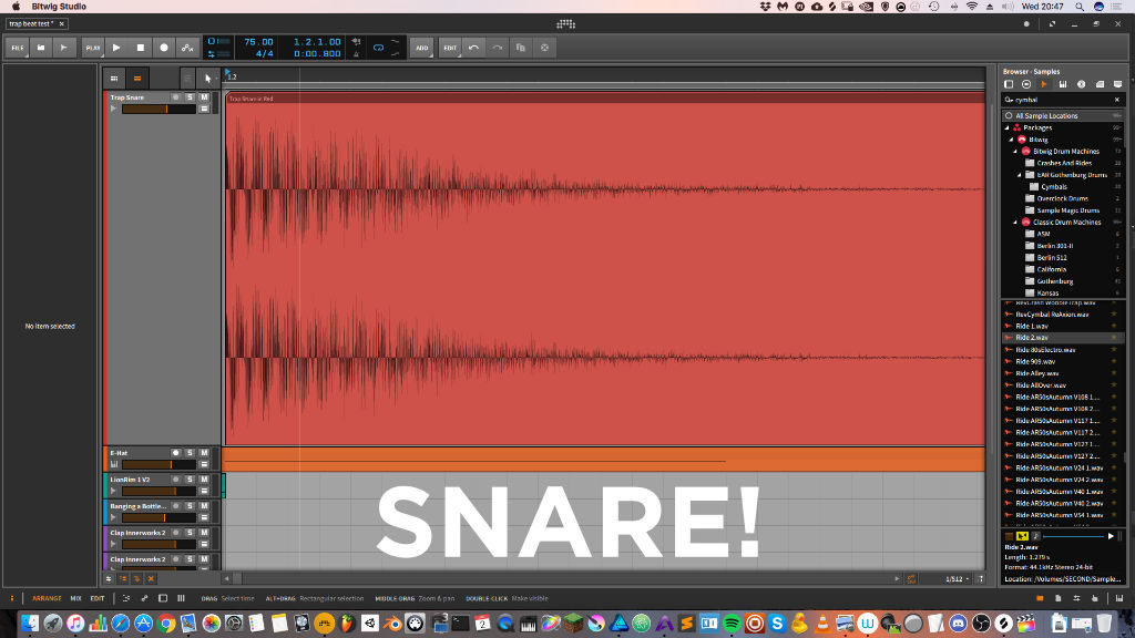 Trap Snare in Bitwig Studio