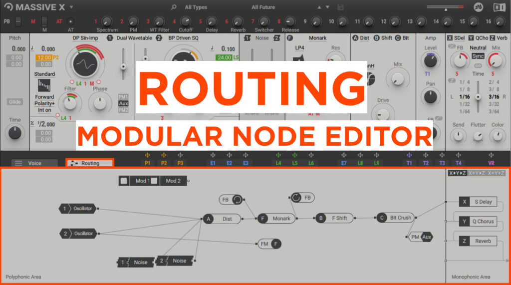 Routing tab in Massive X, modular node editor