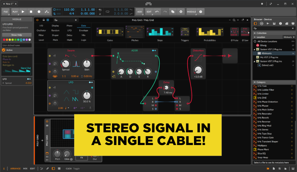 stereo signal cables in bitwig grid