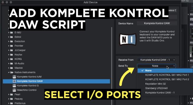 add komplete kontrol daw script in studio one