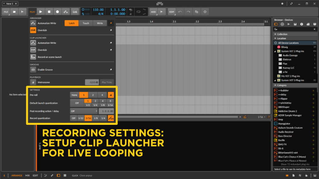 Live Looping - Setup Bitwig Studio for Clip Launcher Looping