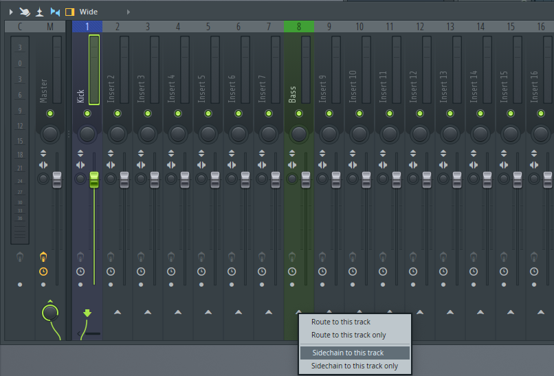 FL Studio Side Chain routing.