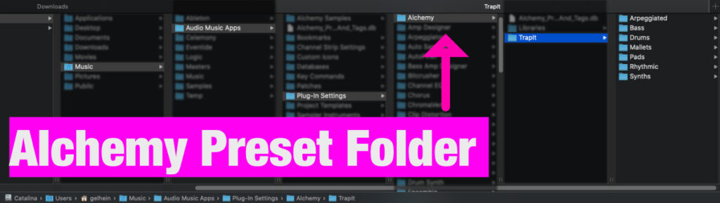 How to install Alchemy presets - Folder Structure